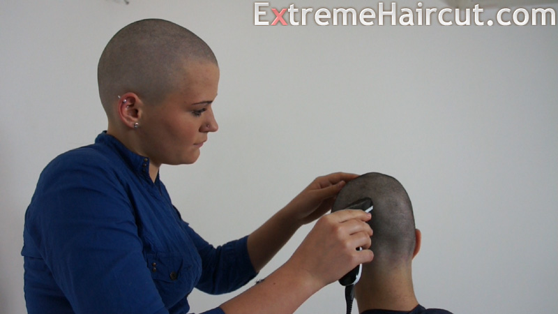 bald girl shaves head