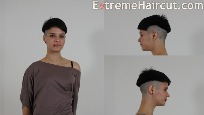 the girl has mushroom hairstyle