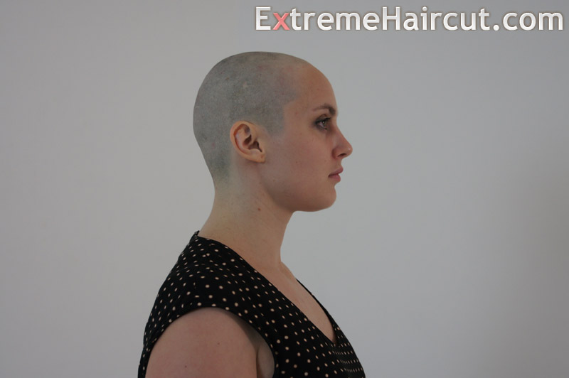 she is bald and happy
